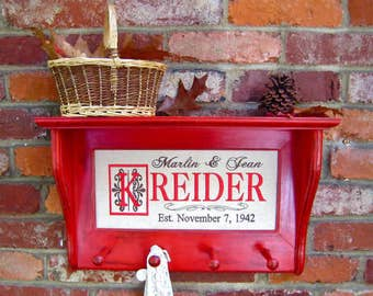 Wall shelves, Family name wall shelf, Red distressed shaker peg shelf (Pictured), Personalized Family name sign, Wedding gift, Select color