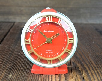 JANTAR Vintage alarm clock, Russian Mechanical clock Working clock, old clock, vintage desk table clock,red