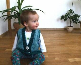 Knit vest for infant girl, green baby vest, infant girl vest, chunky vest, chunky baby vest
