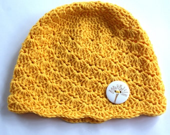 Baby girl hat, crochet baby hat yellow baby hat, infant girl hat crochet, baby beanie