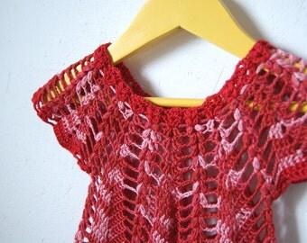 Crochet Baby Dress,  Red Dress, Green dress, Purple Dress, Cotton dress, summer baby dress, infant dress