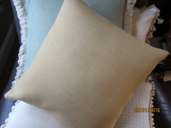 Golden straw colored textured woven throw pillows 2 sizes