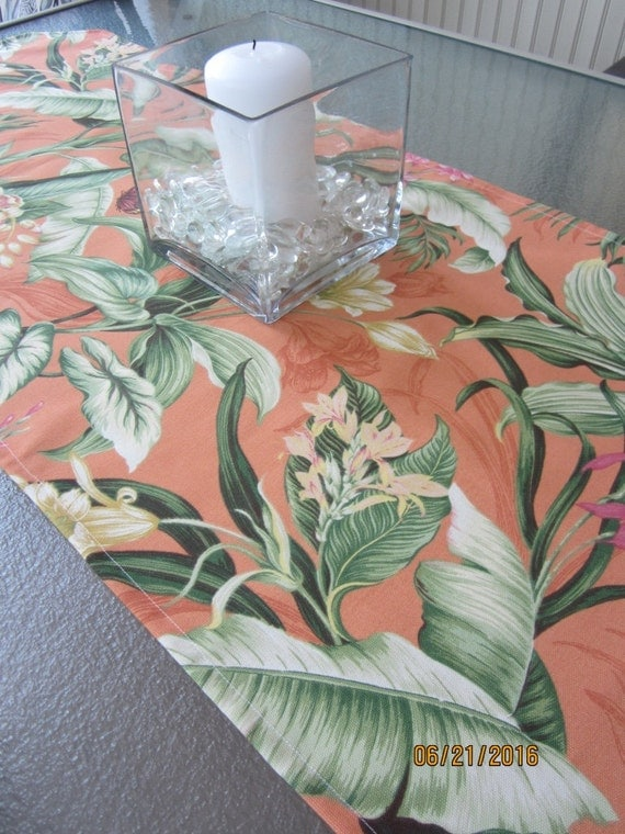 Table runner in vibrant orange floral Waverly Sun N Shade indoor outdoor fabric