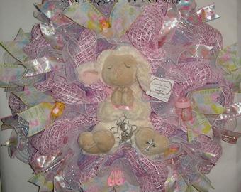 Baby Girl Lamb Mesh Wreath, Baby Wreath, Baby Shower, Baby Girl Mesh Wreath, Serenity Lamb with Crib Cross, Lamb Mesh Wreath, Nursery Wreath