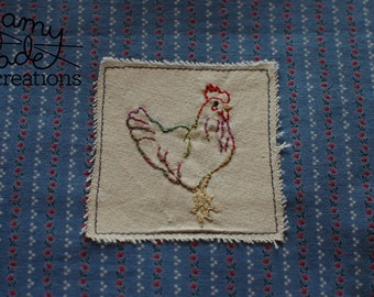 Embroidered Chicken Purse / Rooster Purse / Zip Bag / Embroidered Pouch / Embroidered Purse