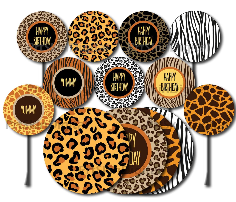 Safari Cupcake Toppers Printable Safari Cake Topper Safari