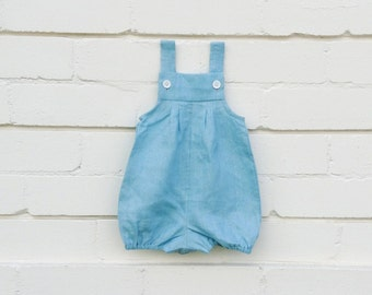 Dusty blue linen vintie overalls