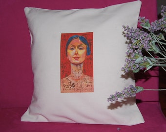 Isadora Duncan - Handmade Pillow - Color Printed on Linen Cotton