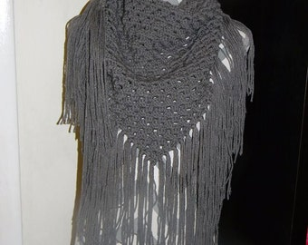 Crochet Finished Woman's Triangle Fringe Scarf