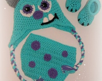 Crochet Monsters inc Prop Sully Hat,Diaper cover & shoes 6-12 m