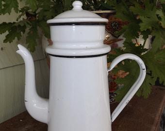 Antique Enamel French CoffeePot Pitcher Biggin * White with Black Trim