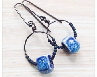 Blue ceramic hoops - antiqued copper hoops