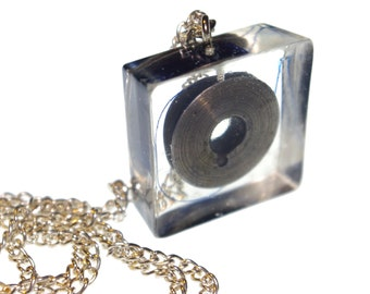 Vintage sewing coil w blue thread in resin cube pendant necklace