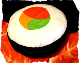 Handmade round 40 cm sushi-shaped pillow