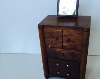 Vintage Handmade Doll Dresser Jewelry Box
