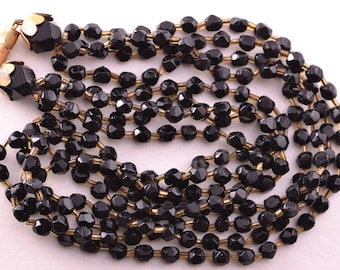 1930's Multi-Strand Necklace With French Jet Beads (4404)
