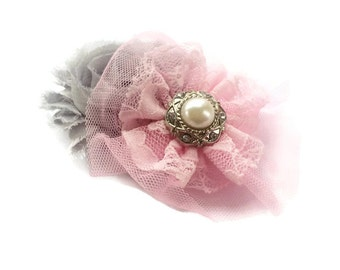 Women's Hair Clip Barrette - Pink and Gray Flower Barrette -Lace Flower Clip with Pearl - French Barrette for Girl - Fashion Hair Clip -