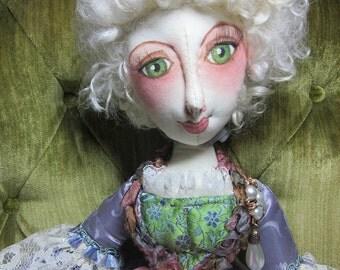 OOAK cloth boudoir doll Mademoiselle