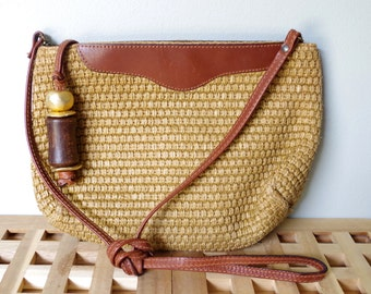 Vintage Purse Woven Jute Leather Trim Lord & Taylor Made in Italy