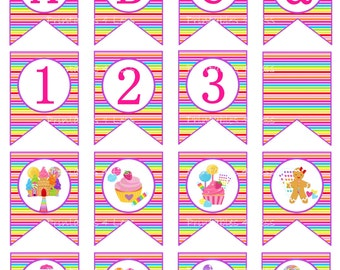 Candyland Banner, Candyland Birthday Banner, Printable Candyland Party, Candyland Decoration, Candyland Baby Shower, A-Z - Printables 4 Less