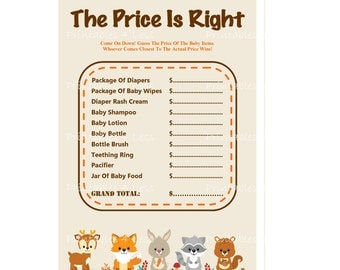 Woodland Price Is Right, Baby Price Is Right Game, Baby Shower Price Is Right Game, Price Is Right Game Printable - Printables 4 Less 0087