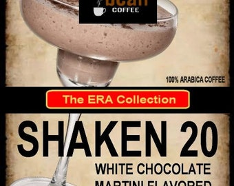Shaken 20 White Chocolate Martini Flavored Coffee, Smooth and intriguing, 12oz and 2oz. White Chocolate coffee, Martini flavored coffee