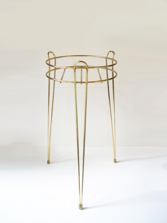Glam Vintage Mid Century Gold Hairpin Tripod Plant Stand
