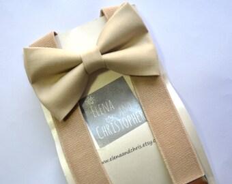 Beige/Khaki Bow Tie and Suspender Set !! for toddler/ boy/ baby/Teen/Adult/Men