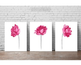 Peony Painting set 3 Flowers Pink Nursery Baby Girl Kids Room Decor, Floral Arrangement Watercolor Painting, Girls Abstract Flower Clipart