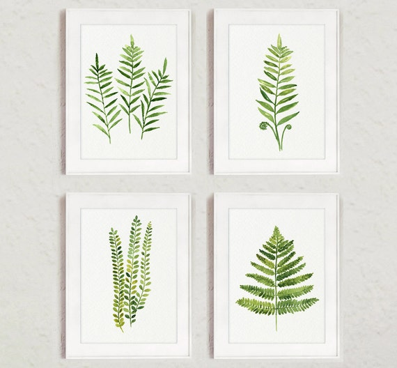 Fern Painting Green Abstract Leaf Watercolor Print Set Of 4