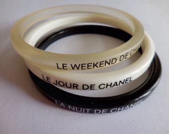 Chanel VIP gift bracelet, NWT, black, white and semi-transparent
