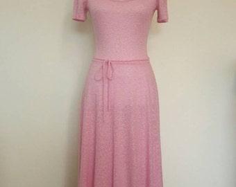 Vintage 1960's Bubblegum pink knit dress summer dress scoop neckline