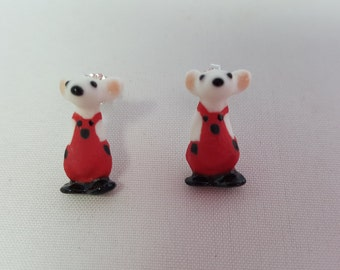 Porcelain Mouse Stud Earrings