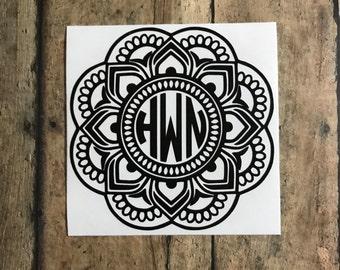 mandala monogram decal / flower / fancy / tumbler
