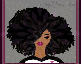 Diva SVG Afro Natural Curly Hair Queen Princess Woman Girl Beautiful Face Lips Eyes Lashes Black Heart African American Magic Decal 2018.