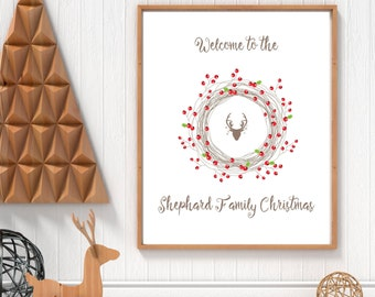 Personalised Christmas, Family Print, Family Name Sign, Christmas Prints, Xmas Gifts, Winter Print, Family Picture, Personalized Prints