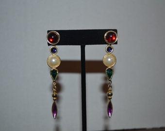 1980's multi-colored drop pierced earrings