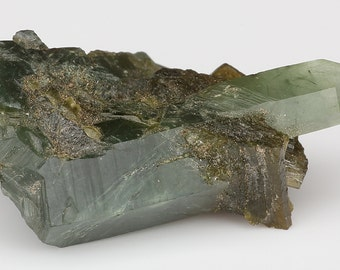 Beautiful Green Actinolite On/In Green Prase Quartz Cluster