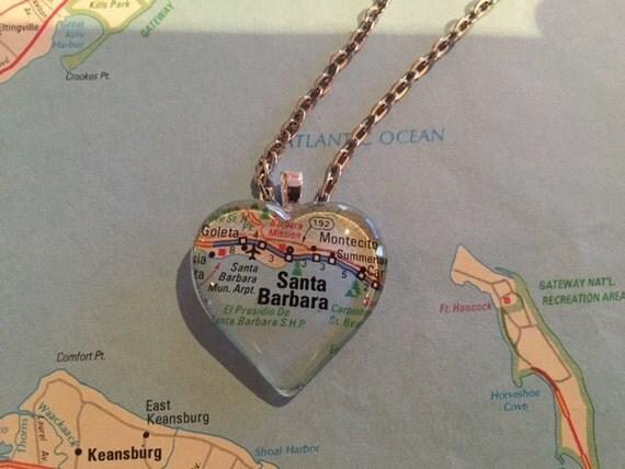 santa barbara vintage map pendant necklace