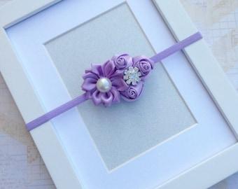 Lavender rose bud headband,premie headbands,infant headbands,newborn photo props,girls headbands,lavender headbands,baby bows