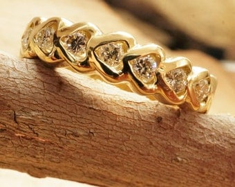 Eternity wedding band  , gold wedding band,  Diamond Engagement Ring, Women Jewelry,  diamond band vintage jewelry