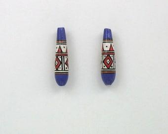 Handmade Ceramic Peruvian Teardrop Shaped Beads, Choice of quantity - 15