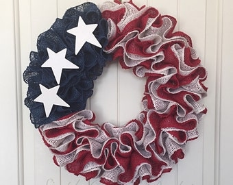 Rustic American burlap wreath, red white blue burlap wreath, patriotic wreath, Military wreath, fourth of July wreath, Veteran's Day wreath