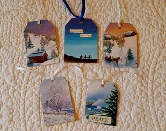 Christmas Gift Tags -- Set of 5 -- Handmade in USA