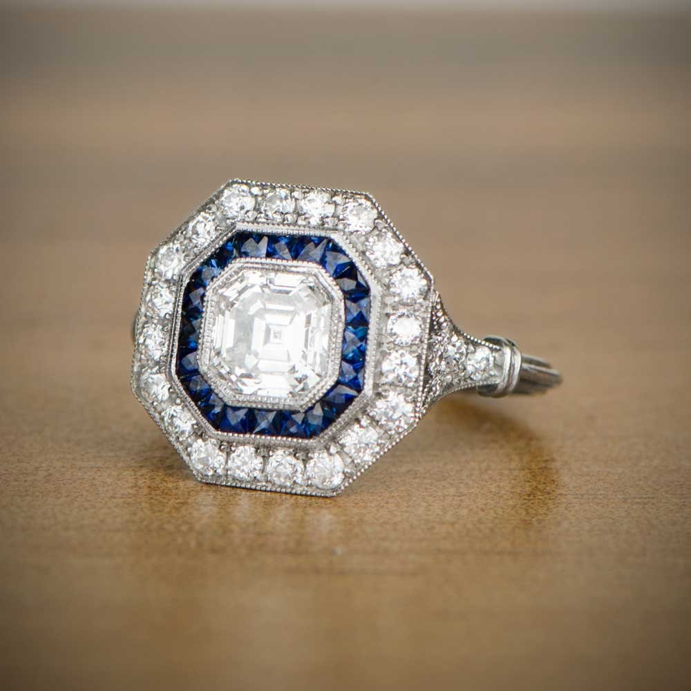 1.05ct Asscher Cut Diamond and Sapphire Ring Vintage
