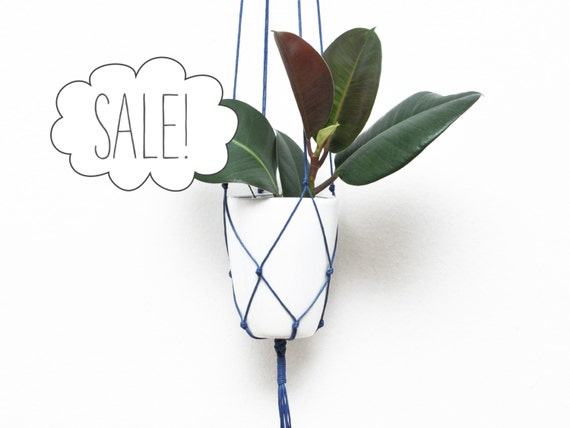 Sale 50 Off Blue Cotton Macrame Plant Hanger Hanging Flower