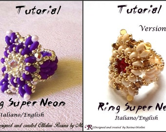"""Ring """"Super Neon"""" (Tutorial graphics pictures in Italian and English)"""