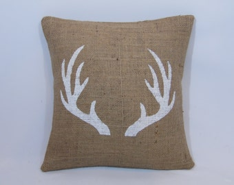 Custom made rustic country natural burlap white (or custom color) buck deer antlers pillow cover/sham. Custom size/color option.