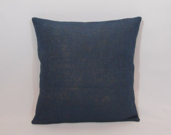 Custom made rustic nautical navy blue burlap pillow cover/sham. Multiple sizes to choose from.