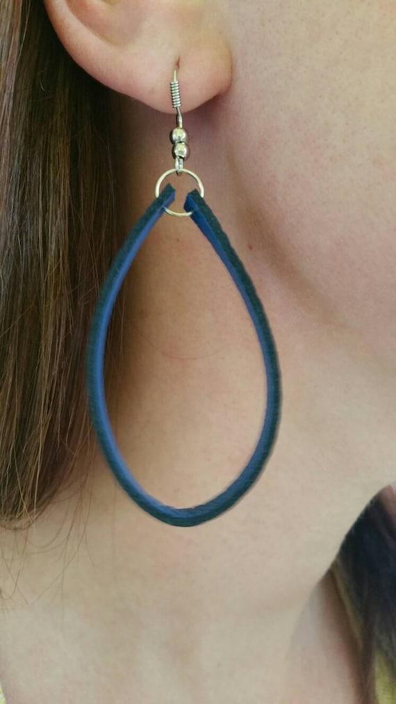 Black and Blue Leather Hoop Earrings